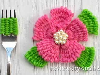 How to Make a Flower out of Yarn with a Fork using Weaving and Embroidery Techniques