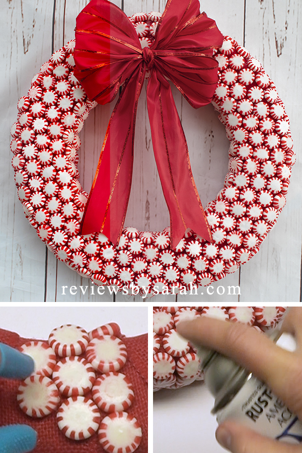 Starlite Peppermint Candy Wreath for the Christmas Holiday Season