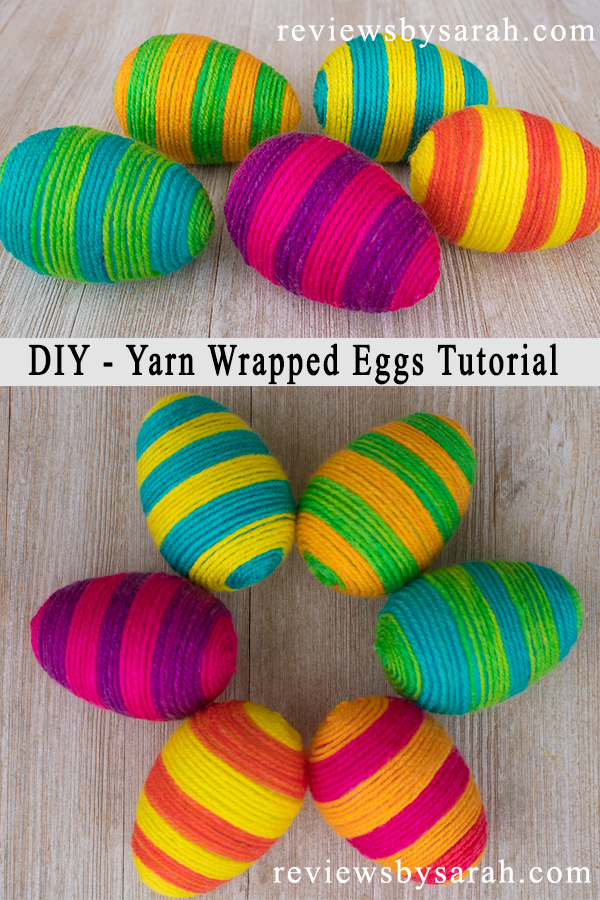 Yarn String or Thread Wrapped Eggs for Spring or Easter